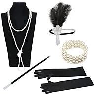 The Great Gatsby 1920s Roaring Twenties Roaring 20s Costume Women's Flapper Headband Head Jewelry Vintage Bracelet Pearl Necklace Black / Golden+Black / Black / White Vintage Cosplay Party Prom
