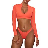 Damskie Podstawowy Halter Biały Pomarańczowy Wrap Dół typu Cheeky Tankini Stroje kąpielowe - Solidne kolory M L XL Biały