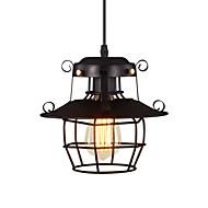 billige Takbelysning og vifter-vintage svart metall bur loft mini anheng lys stue stue spisestue hall kafé barer lysarmatur malt overflate