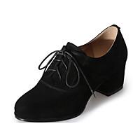 abordables Oxfords pour Femme-Femme Chaussures Cuir Automne Confort / Escarpin Basique Oxfords Talon Bottier Noir / Bleu / Chair