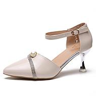 baratos Sapatos Femininos-Mulheres Sapatos Couro Ecológico Verão Plataforma Básica Saltos Heel translúcido Dedo Apontado Presilha Preto / Bege / Rosa claro