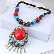 Per donna Vintage Alla moda collana lunga Resina Donne Vintage Europeo Etnico Rosso Blu 50 cm Collana Gioielli 1pc Per Casual