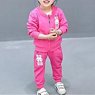bébé Fille Basique Quotidien Imprimé Manches Longues Normal Coton / Polyester Ensemble de Vêtements Rose Claire / Bébé