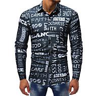 Erkek Pamuklu İnce - Gömlek Desen, Zıt Renkli / Harf Temel / Sokak Şıklığı Kulüp Büyük Bedenler Siyah XL / Uzun Kollu