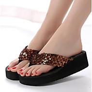 tanie Obuwie damskie-Damskie Komfortowe buty Jeans Lato Sandały Płaski obcas Biały / brązowy / Czerwony
