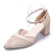 baratos Sapatos Femininos-Mulheres Couro Ecológico Verão Tira no Tornozelo Saltos Salto de bloco Dedo Apontado Preto / Bege
