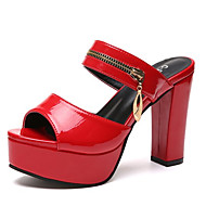 Women's Shoes PU(Polyurethane) Spring & Summer D'Orsay & Two-Piece Sandals Chunky Heel White / Black / Red
