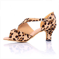 billige Sambasko-Dame Sambasko Satin Sneaker Cubanske hæle Dansesko Leopard