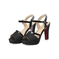 baratos Sapatos Femininos-Mulheres Sapatos Couro Ecológico Verão Conforto Sandálias Salto Robusto Dourado / Preto / Prateado