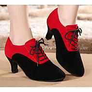 billige Moderne sko-Dame Moderne sko Semsket lær Oxford / Høye hæler Slim High Heel Dansesko Svart / Rød-Svart / Ytelse / Trening