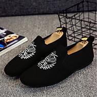 baratos Sapatos Masculinos-Homens Sapatos Confortáveis Lona Primavera Verão Casual Mocassins e Slip-Ons Preto / Cinzento / Branco e Preto