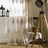 cheap Curtains & Drapes-Sheer Curtains Shades Bedroom Floral Polyester Embroidery
