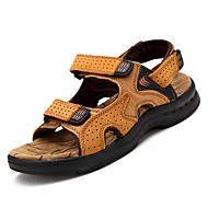 levne -Pánské Nappa Leather Léto Pohodlné Sandály Černá / Žlutá / Hnědá