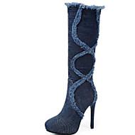 baratos Sapatos Femininos-Mulheres Cowboy / Western Boots Jeans Outono & inverno Botas Salto Agulha Ponta Redonda Botas Cano Alto Mocassim Preto / Azul / Festas & Noite