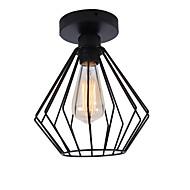 billige Taklamper-moderne industrielt mini metall bur taklampe restaurant kafé 1-lys vintage stil flush mount lys