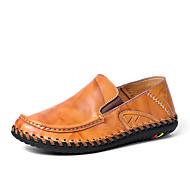 tanie Small Size Shoes-Męskie Skórzane buty Skóra / Syntetyki Wiosna i lato Mokasyny i buty wsuwane Czarny / Brązowy / Burgundowy