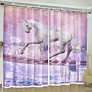 billige Gardiner ogdraperinger-3D gardiner Soverom Geometrisk Polyester Reaktivt Trykk