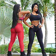 Mujer Jacquard Pantalones de yoga Color Jengibre Gris Fucsia Deportes Color sólido Licra Medias / Mallas Largas Leggings Zumba Fitness Entrenamiento de gimnasio Ropa de Deporte Relleno Elástico