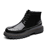 cheap Men's Boots-Men's Combat Boots Patent Leather Winter Casual Boots Wear Proof Mid-Calf Boots Black / Burgundy