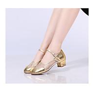billige Moderne sko-Dame Moderne sko Fuskelær / Mikrofiber Høye hæler Tykk hæl Dansesko Svart / Sølv / Rød