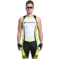 cheap -Nuckily Men's Short Sleeve Triathlon Tri Suit - Green Geometic Bike Breathable Anatomic Design Ultraviolet Resistant Sports Polyester Spandex Stripe Triathlon Clothing Apparel / Stretchy / Advanced