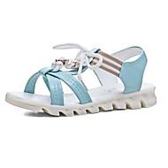 tanie Obuwie damskie-Damskie Komfortowe buty PU Lato Sandały Creepersy Biały / Niebieski / Różowy