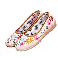 baratos Sapatos Femininos-Mulheres Bailarina Linho Verão Rasos Sem Salto Branco / Amarelo