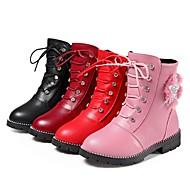 baratos Sapatos de Menina-Para Meninas Sapatos Couro Ecológico Inverno / Outono & inverno Botas da Moda Botas Caminhada Miçangas / Cadarço / Flor para Infantil / Adolescente Vermelho / Rosa claro / Vinho / Botas Cano Médio