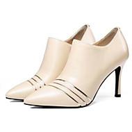 baratos Sapatos Femininos-Mulheres Fashion Boots Pele Napa Outono Botas Salto Agulha Dedo Fechado Botas Curtas / Ankle Preto / Amêndoa