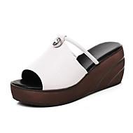 baratos Sapatos Femininos-Mulheres Sapatos Confortáveis Pele Napa Verão Sandálias Sem Salto Branco / Preto