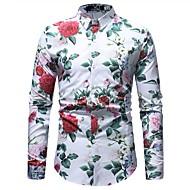 Heren Vintage / Standaard Overhemd Katoen Bloemen Wit XL / Lange mouw