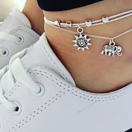 Women's Stylish Ankle Bracelet Elephant Ladies Artistic Anklet Jewelry Silver For Going out Bikini