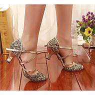 billige Moderne sko-Dame Moderne sko Syntetisk Høye hæler Kubansk hæl Dansesko Gull / Svart / Sølv