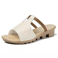 billige -Dame Komfort Sko PU Sommer Sandaler Flade hæle Hvid / Sort / Lys pink