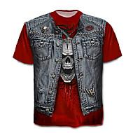 Χαμηλού Κόστους -Ανδρικά Μεγάλα Μεγέθη T-shirt Κρανίο / Εξωγκωμένος - Βαμβάκι Συνδυασμός Χρωμάτων / Νεκροκεφαλές Στάμπα / Κοντομάνικο