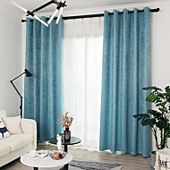Blackout Curtains Drapes Bedroom Solid Colored Polyester Blend Embossed