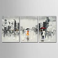 billiga Människomålningar-Hang målad oljemålning HANDMÅLAD - Abstrakt Människor Moderna Inkludera innerram / Tre paneler / Sträckt kanfas