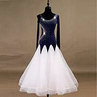 Ballroomdansen Jurken Dames Prestatie Spandex / Organza Kristallen / Bergkristallen Lange mouw Natuurlijk Kleding