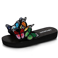cheap -Women's Comfort Shoes PU(Polyurethane) Fall Slippers & Flip-Flops Creepers Round Toe Animal Print Rainbow / Red / Blue