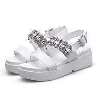 baratos Sapatos Femininos-Mulheres Sapatos Confortáveis Pele Napa Verão Sandálias Sem Salto Branco / Preto / Rosa claro