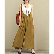 Women's Loose Wide Leg / Overalls Pants - Solid Colored Black