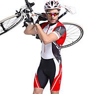 cheap -Nuckily Men's Short Sleeve Triathlon Tri Suit - Red Geometic Bike Breathable Anatomic Design Ultraviolet Resistant Sports Polyester Spandex Stripe Triathlon Clothing Apparel / Stretchy / Advanced