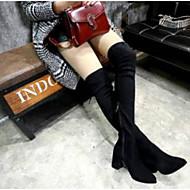 baratos Sapatos Femininos-Mulheres Fashion Boots Camurça Outono Botas Salto Robusto Botas Acima do Joelho Preto