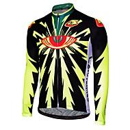 Malciklo Herre Langærmet Cykeltrøje - Sort Sort / Gul Tegneserie Cykel Trøje Åndbart Hurtigtørrende Anatomisk design Sport Tegneserie Bjerg Cykling Vej Cykling Tøj / Mikroelastisk