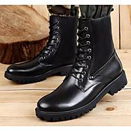 baratos Sapatos Masculinos-Homens Sapatos Confortáveis Couro Ecológico Outono & inverno Botas Botas Cano Médio Preto