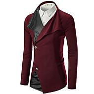 Homme Quotidien Actif Normal Blazer, Couleur Pleine Col de Chemise Manches Longues Polyester Rouge / Gris Foncé / Gris Clair L / XL / XXL