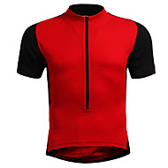 Men's Women's Short Sleeve Cycling Jersey - Red Blue Black / Orange Solid Color Plus Size Bike Jersey Breathable Sports Nylon Elastic Mountain Bike MTB Road Bike Cycling Clothing Apparel / Stretchy