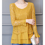 Dame - Ensfarvet Lace Trim Basale Bluse