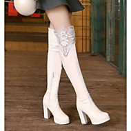 abordables -Mujer Fashion Boots PU Invierno Botas Tacón Cuadrado Hasta la Rodilla Blanco / Negro