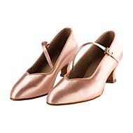 billige Moderne sko-Dame Moderne sko Sateng Høye hæler Kubansk hæl Dansesko Naken